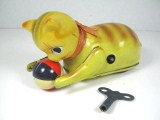 Vintage Rollover CAT & BALL Tin Litho Wind Up Japan Key